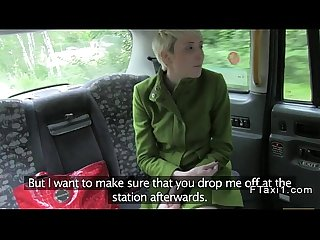 Short haired british blonde fucks in fake taxi