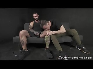 Inked hunk toe licking foot job masturbation with kinky jock