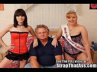 Hot strap on Princesses pegging a lil bitch of a dirty old man