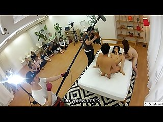 Behind the scenes JAV filming FFM sex audience watching
