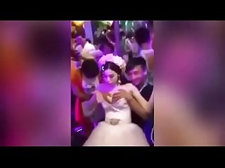 Bride boobs press wild wedding