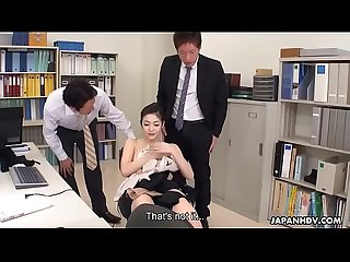 Japanese office lady, Ryu got spit- roasted at work, uncensored