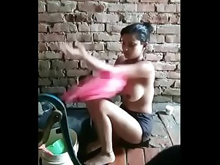 village girl big boobs bathing