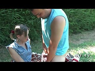Amateur young french girlfriend slut sucks and fucks in 3way outdoor