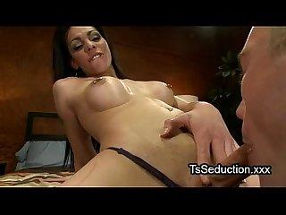 Pierced nipples tranny gets dick deep throat sucked