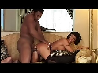 Stunning italian milf in black stockings fucked by black servant