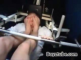 Cute muscled Twink kickboxer master tramples slave