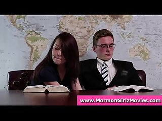Mormon amateur giving boyfriend a handjob with underwear fetish