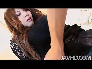 Pantyhose clad Maria amane finds her pussy fingered until she is soaking wet and