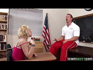 Pierced blondie screwed hard by her prof