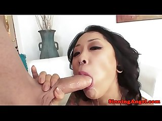 Sweet asian pornstar sucking hard dick