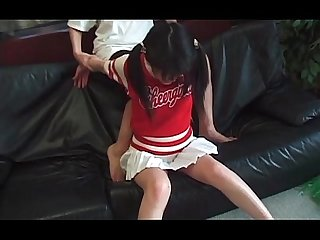 Jap cheerleader in pigtails in her first time hardcore video