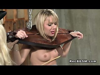 Blonde slave in bdsm caned and pussy toyed