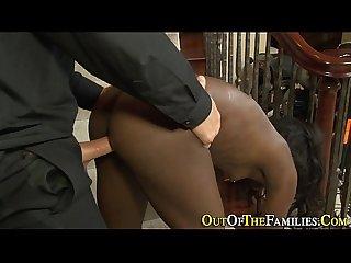 Amateur ebony gets railed