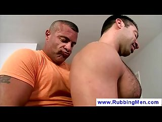 Muscled gay masseur with pierced nipples