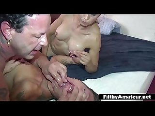 Orgy with 3 mature whores anal and spittle