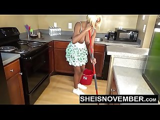 Sheisnovember Topless Mopping In Kitchen & Upskirt Ebony Ass & Big Natural Tits