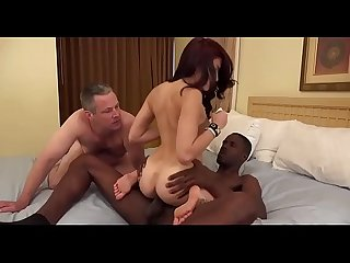 Wife makes her cuckold husband suck bbc of her black lover while lover fucks her