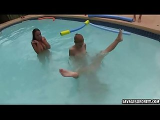 Hot brutal lesbians are hazed in the pool