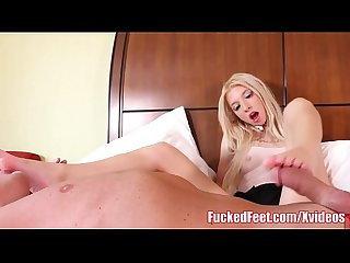 Petite Blonde Teen Keznie Reeves Gives Soft Footjob for Cum!