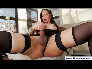 Tranny shemale in hot lingerie wanks off