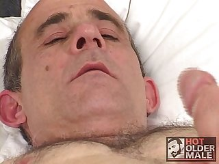 Solo hairy old man cum