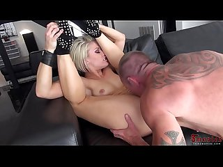 Blonde on heels rides cock