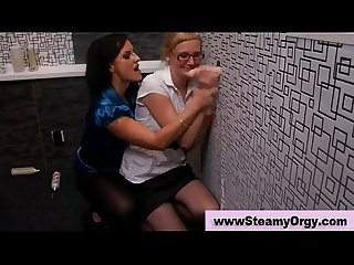 Ordinary babes at gloryhole party