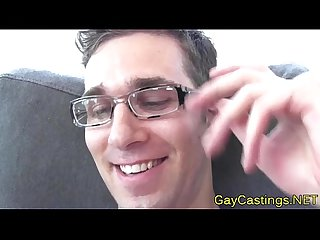 Gaycastings nerdy hunk gets facialized