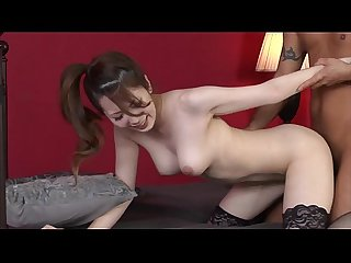 Big titted japanese milf bounces on cock while wearing stockings