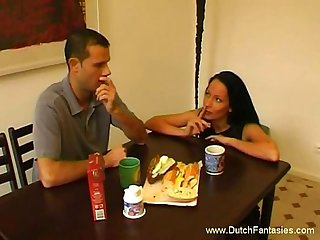 Creampie right on the table