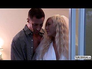Gorgeous blonde Ts aubrey kate and her husband fucks hard on their Honeymoon