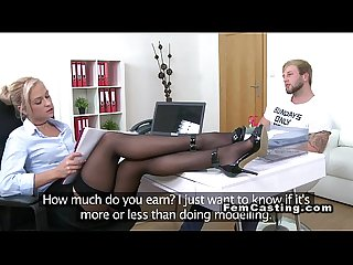 Blonde agent in stockings fucks in office