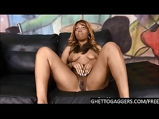Ebony bitch Mocha Sinn takes 2 big cocks to the throat