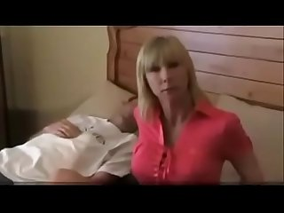 Hot mom fucks husband and her young son