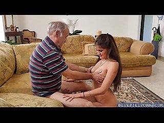 Gorgeous jeleana marie fucks with horny old guys