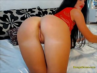 Horny brunette penetrates her little tight ass with big dildos