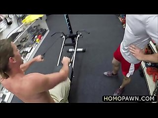 White muscular Fitness instructor considered his ass to get banged for some cash