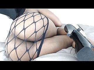 Sexy ebony pussy play through fishnets
