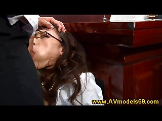 Asian babe secretary mouth fucked on desk