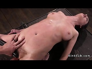 Busty slave in bondage pussy tormented