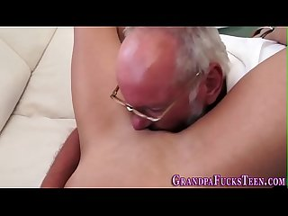 Teen tugs gramps for cum