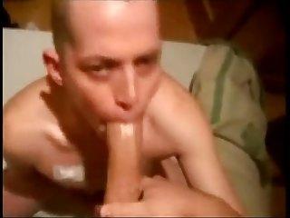 Skinhead deepthroats big cock