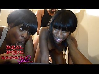 Two ebony teens make wild orgy sex tape