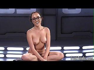 Spex masturbating babe pussy fucked by machine