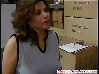 Mature latina fucking her boss at work who is she