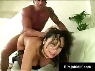 Beautiful dark haired cougar gets pounded by young lover lee