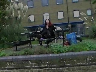 Redhead amateur uk babe monica flashing and masturbating in public in london