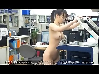 japanese girl working completely naked and getting harassed at offices