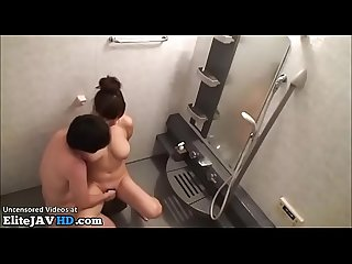 Japanese huge boobs Milf fucked in the shower
